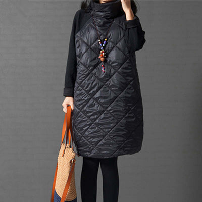 Online discount shop Australia - Fashion Autumn Loose Straight Dress Patchwork Black Ropa Mujer Turtleneck Down Female Vestidos Tunic Winter Dresses