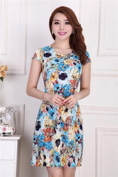 Women Slim Tunic Milk Silk print Floral dress Casual style Plus Size sexy bodycon sundress