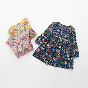Online discount shop Australia - Floral Girls Dress Fashion Kids Clothes Girls Full Sleeve Cotton Dress Button Navy Dress for Kids Chidren Dress