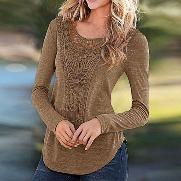 Women Loose Crochet T Shirt Hollow Out Long Sleeve Solid Color Cotton Tee Shirt Tops