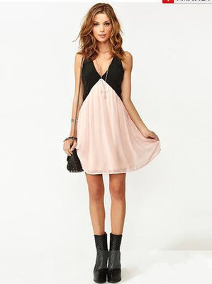 Online discount shop Australia - Chiffon Hollow Out Summer Girls Sleeveless Dress Above Knee Mini One-piece AWD0001