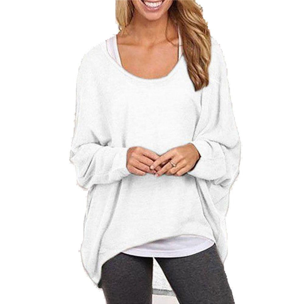 New Women Loose Knitted Sweatshirt Batwing Long Sleeve Casual Solid Shirt knitwear Plus size Pullover SweaterWhiteXLa