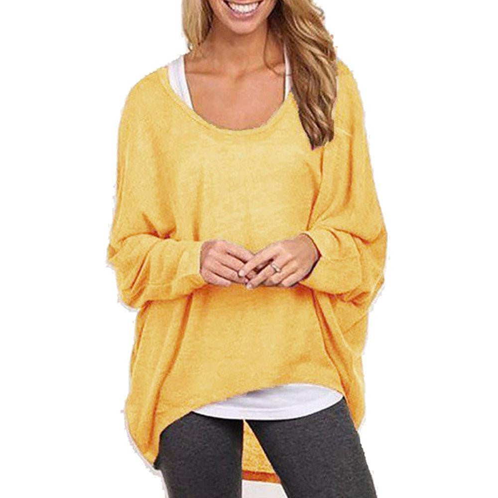 New Women Loose Knitted Sweatshirt Batwing Long Sleeve Casual Solid Shirt knitwear Plus size Pullover SweaterYellowLa
