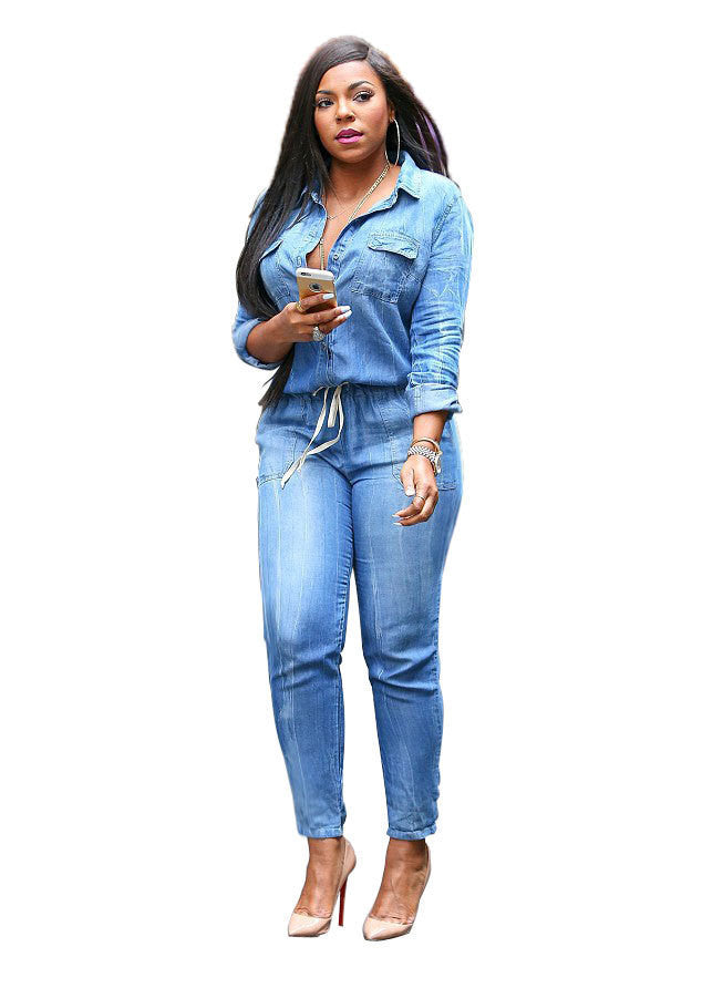 Winter Belt V-Neck Leisure Denim Jean Bodysuit Women Deporte Suits Bandage Playsuits Casual Sexy Fashion Rompers Womens JumpsuitBlueXXXLa
