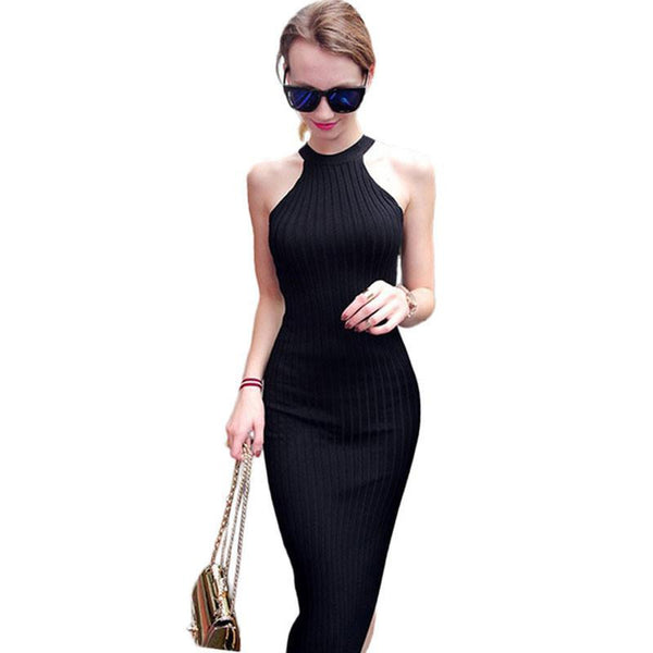 Women Long knitting Dress Spring Sexy Slim Bodycon Dresses Elastic Skinny Split Dress Brief Halter Black Dresses vestidos