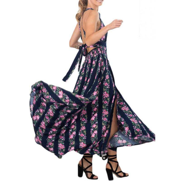 Women Halter Maxi Dress Sleeveless Sundress Beach Bohemian Floral Split Long Maxi Dresses Backless Dress Party Vestidos Feminino
