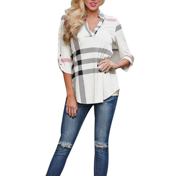 Women Blouses New Sexy V neck Plaid Shirt Fashion Lady Tops Women Clothes