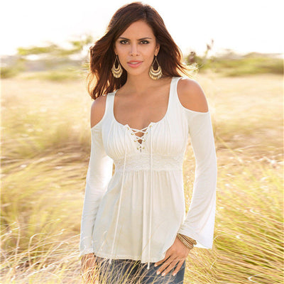 Online discount shop Australia - 6 Colors Size S~5XL Women T-shirt Long Sleeve Tops & Tees Sexy Lace-up Deep V Off Shoulder Women Slim T-shirt Solid