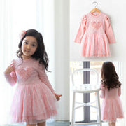 Pinks Kid Baby Girls Party Dresses Long Sleeve 3D Heart Tulle Tutu Dress 2-7Y UK
