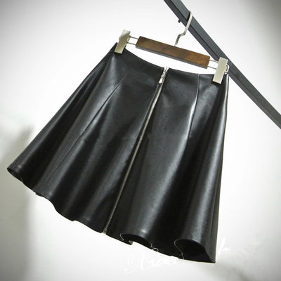 Online discount shop Australia - High Waist Novelty Faux PU Mini Leather Skirt Women 7XL Plus Size Pleated Short Zipper Stitching Flared Skirt
