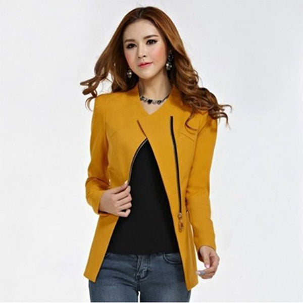 Online discount shop Australia - Candy Color Long Sleeve Women Zipper Suit Slim Casual Jacket Coat Outwear
