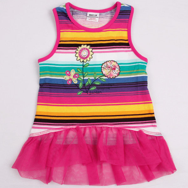 b6540f5f5e Online discount shop Australia - Children clothes sleeveless floral printed  with bow girl dress party dress