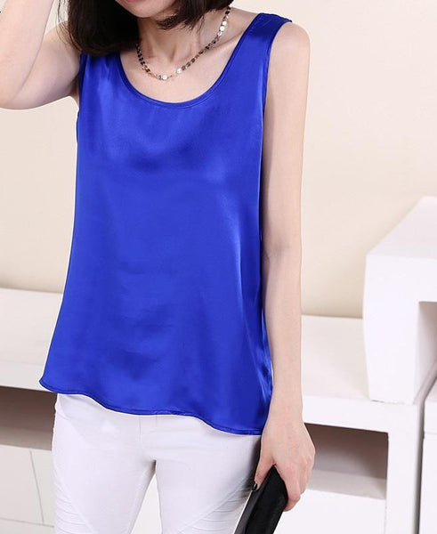 Online discount shop Australia - 100% Pure Silk Women's Blouses Classic Casual Blouse Women Loose OL Sleeveless Ladies Tank Tops For Woman