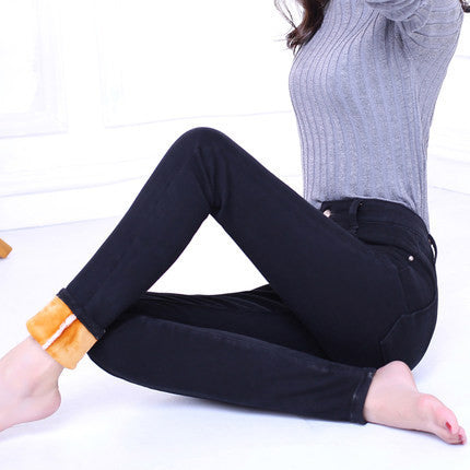 New Jeans Women Plus Velvet Thicker Women's Clothing Stretch Pencil Jeans For Women Warm Trousers Cowboy Pants C1496Plus Velvet black25a