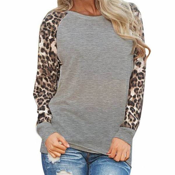 Online discount shop Australia - Leopard Sleeve Long Sleeve Women Blouses Casual Loose Shirt Plus Size 4XL 5XL Tops Women