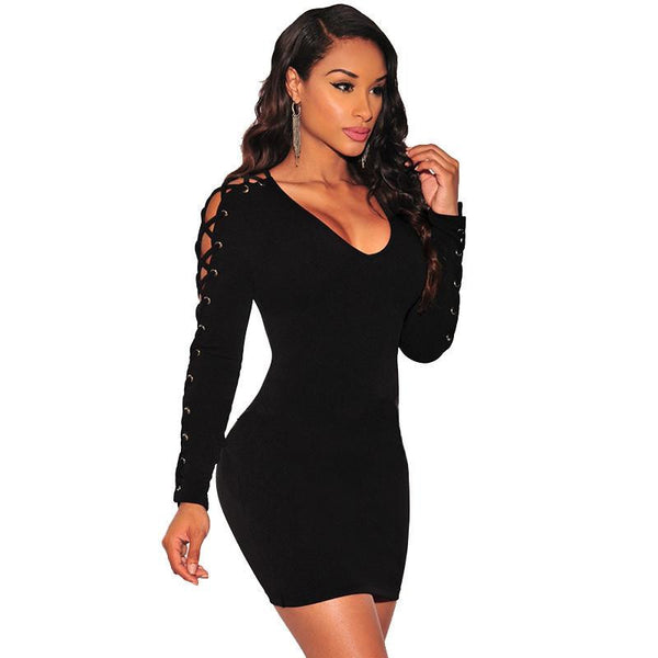 Vestidos est Criss Cross Lace Up Dress Long Sleeve Black / White Slim Night Club Wear Bodycon Bandage Party Dresses