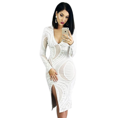 Online discount shop Australia - Glamaker Sexy split white lace bodycon dress Autumn deep v neck women dress Party long sleeve pencil winter dress vestidos