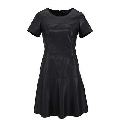 Women Fashion Leather Dress A-Line O-Neck Black Dress Casual Mini Dress Short Sleeve Sexy Autumn Vestidos PU Dress 2153