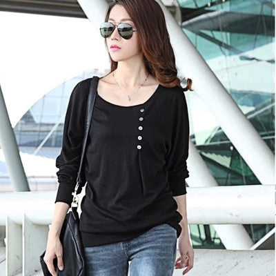 Online discount shop Australia - Batwing Top Long Sleeve Shirt Women Button Female Blouse Plus Size
