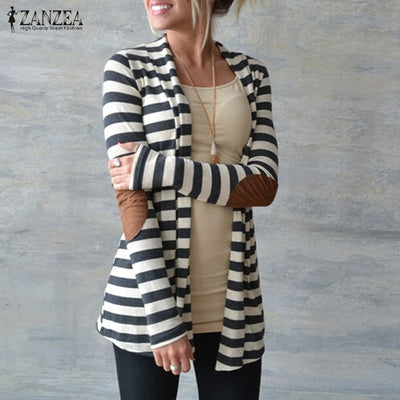 Online discount shop Australia - Jacket Plus Size Women Knitted Sweaters Striped Coat Cardigan Slim   Open Stitch Long Sleeve