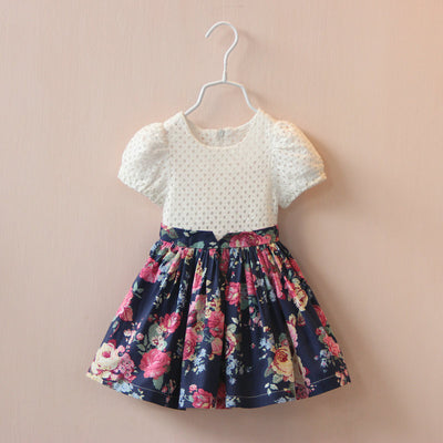 Online discount shop Australia - Girls dress dress girls clothes cotton princess patchwork floral dress baby clothes vestidos
