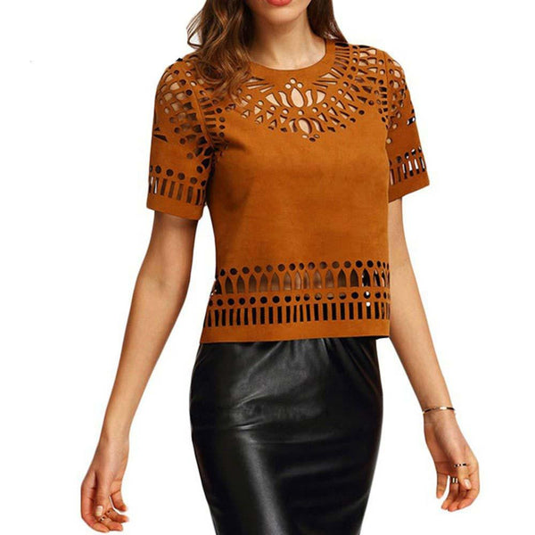 Women Ethnic Cut Out Faux Leather Suede Back Zipper Hollow Out Short Sleeve Tshirt Top Female
