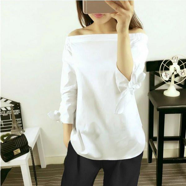 Women Off Shoulder Sexy Blouse Striped Slash Neck Long Sleeve Bow Casual Tops Shirts Ladies Loose Plus Size