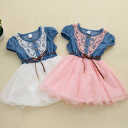 Online discount shop Australia - Fashion Girls baby Lace Belt tutu cowboy dress children Patchwork mesh dresses for girl