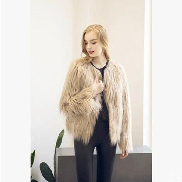 6ae48841e8f Fluffy faux fur coat women warm chic female outerwear Black elegant jacket  coat hairy plus size