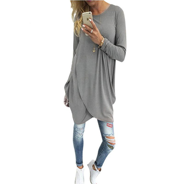 Sexy Split Tops Simple Gray Coffee Women Casual T Shirt Fashion Long T-Shirt Woman Clothes Long Sleeve O-neck