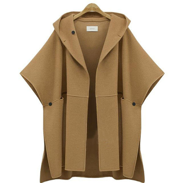 Online discount shop Australia - 5XL Plus Size Women Clothing  Coat Fashion Female Cloak New Loose Woolen Tops Half Sleeve Wool & Blends