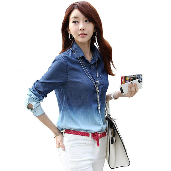 Denim Shirt Jeans Cardigan Women Jeans Shirt Plus Size Blouse