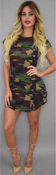 New Fashion Women Summer Dress Short Sleeve Sexy Mini Dresses women Green Camouflage Print Plus Size Woman Vestidos