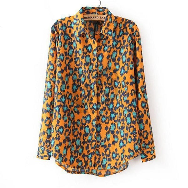 Women Print Blouse & Shirts turn down collar Long Sleeve Q238