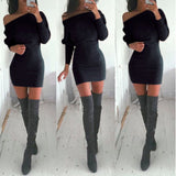 S-XL Khaki Tunic Winter Dress Women Casual Batwing Sleeve Party Dresses Lady Sexy Mini Plus Size Slash Neck Dress Vestidos 15343