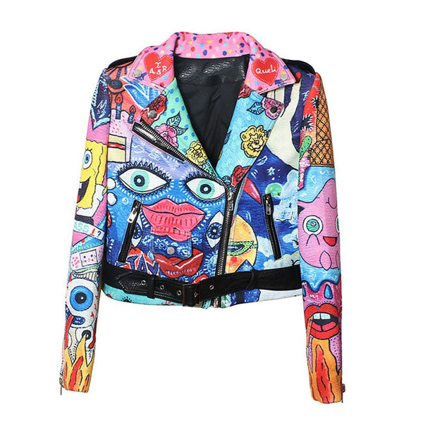Plus size  women street graffiti printing space cotton short jacket long sleeve slim harajuku cute lapel coat
