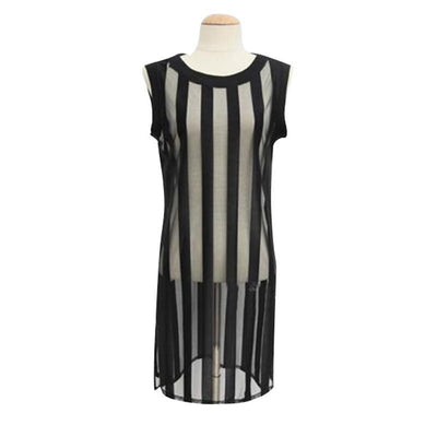 Online discount shop Australia - New  Style Sleeveless Mesh Sheer T Shirt Women Tops and Tees Long Striped Top Unique Casual All-Match Women's T-shi