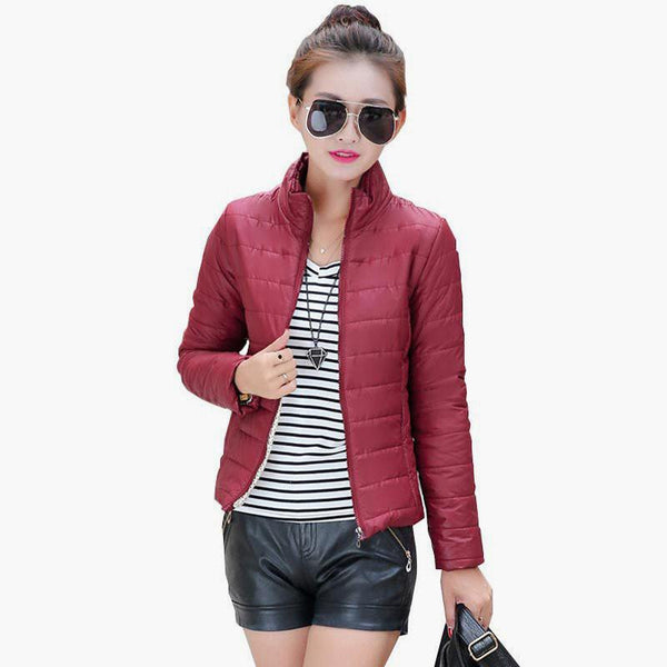 women's jacket to keep warm in padded silk ladies fashion casual Slim padded  jacket