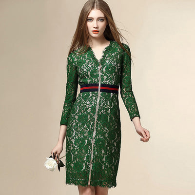 Online discount shop Australia - Fashion Runway Dress Women's Long Sleeve V-neck Front Zipper Green Lace Dress