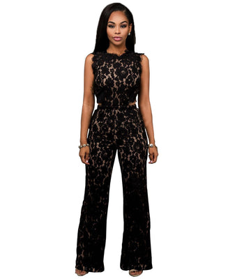 Online discount shop Australia - 2 Piece Jumpsuit Women Black Lace Crochet Short Crop Top Cut Waist Wide Leg Long Rompers Back Zipper Hollow Out Playsuit