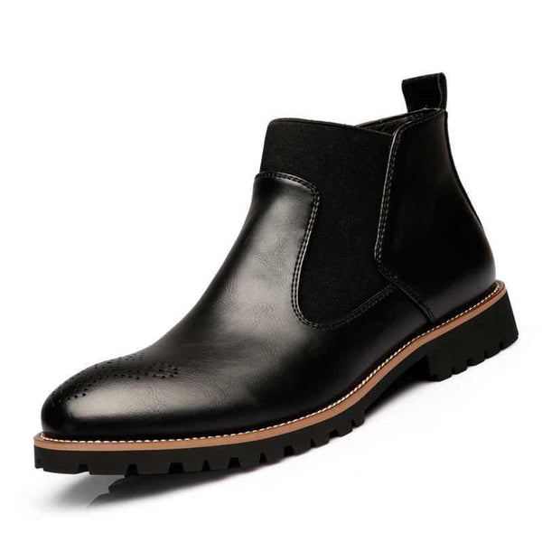 Warm Plush/Fall Single Chelsea Boots,Men's British Style Ankle Boots,Bullock Carved Leather With Fur Casual Shoes MRCCS