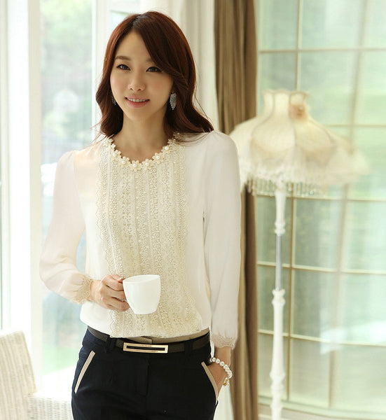 Women Tops And Blouses Fashion Shirt Shirts Long Sleeve Lace Blouse