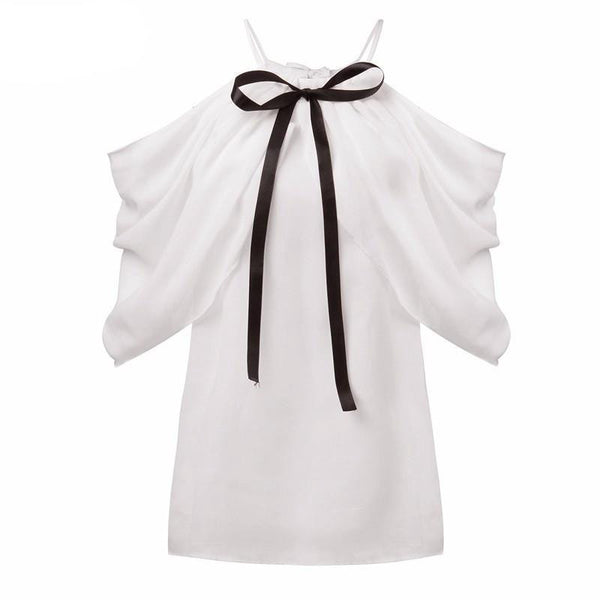 Style Halter Neck Bowknot Shirts Elegant Women Sexy Off Shoulder Blouses Casual Slim Chiffon Tops