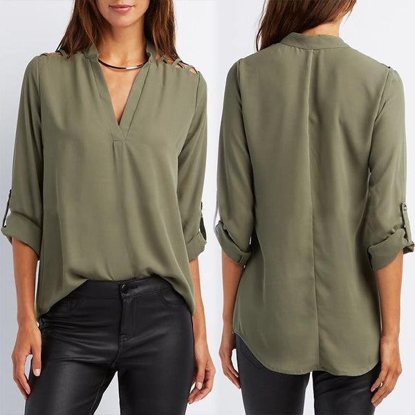 cefb4aad90431 Women Blouses Open Shoulder Office Ladies Shirt Loose V Neck Sexy Casual Tops  Plus Size Women