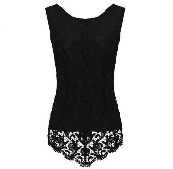Womens Sleeveless Lace Blouse Fashion Fitness Female Chiffon Blouse Elegant Office Shirt Women Tops