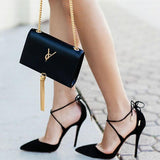 Style women's Lace Up high heels Pointed Toe Bandage Stiletto sandals celebrity ladies shoes Pumps Black 35-40
