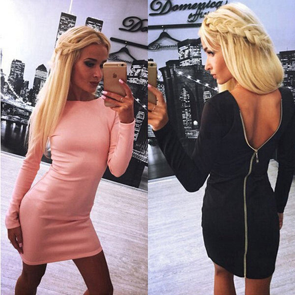 Online discount shop Australia - Fashion New Sexy Zipper Solid Autumn Winter Dress Women Long-Sleeved 0-Neck Slim Robe Sexy Casual Dress Female Vestidos