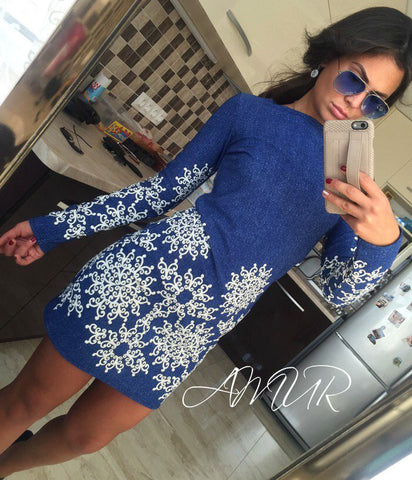 Online discount shop Australia - New Autumn Style Sheath Dresses Casual Ladies dress Women clothing elegant sexy fashion o-neck printed dresses