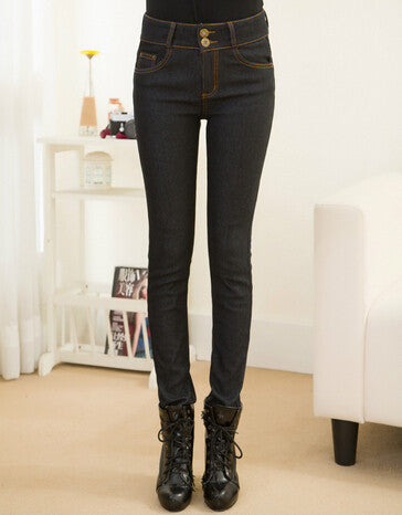 Women Jeans Warm Thicken Fleeces Two Button Pencil Pants Fashion Skinny Denim Trousers