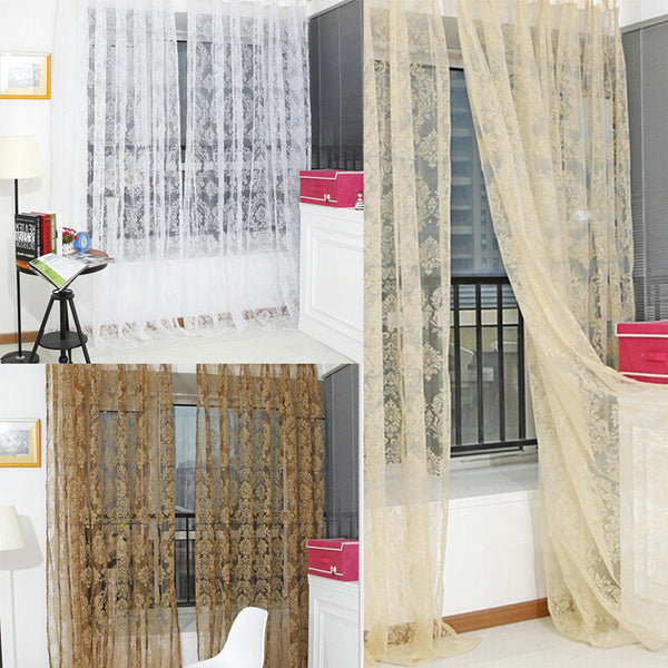 Online discount shop Australia - 1 PC Noble Window Screens Tulle Bronzing Flower Door Curtain Tulle Curtains Window Curtains Modern Living Room Curtains